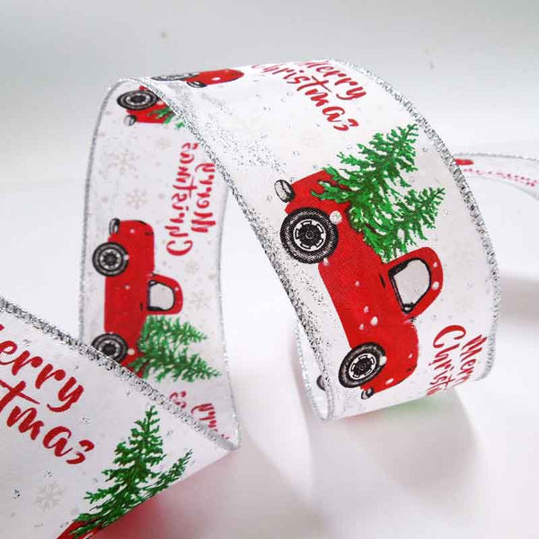 63 mm Driving Home for Christmas Glitter Ribbon, 2 and 3/8 inch Merry Christmas Glitter Wired Decorative Ribbon - Fabric and Ribbon