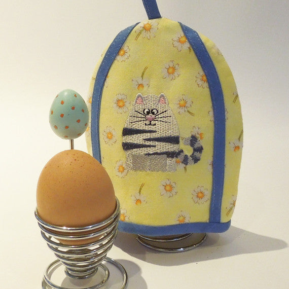 Kid's Yellow Cat Egg Cosy, Handmade and Embroidered Clever Cat Egg Cosy