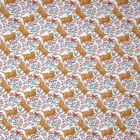 Cats and berries fabric