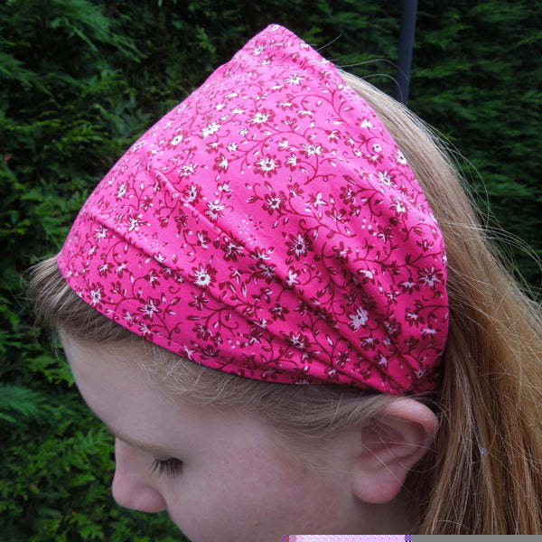 Girl's Deep Fuschia Little Flowers Hairband and Bandanna plus Organza Gift Bag, Handmade in Pure Cotton - Fabric and Ribbon