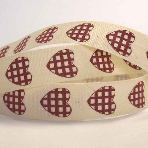 15 mm Red Gingham Hearts Cotton Ribbon, 5/8 inch Red Checked Hearts Natural Cotton Tape - Fabric and Ribbon