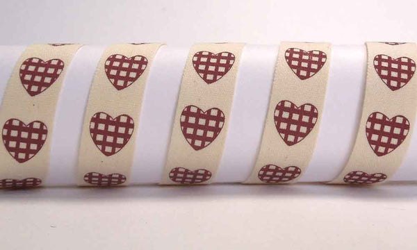 15 mm Red Gingham Hearts Cotton Ribbon, 5/8 inch Red Checked Hearts Natural Cotton Tape