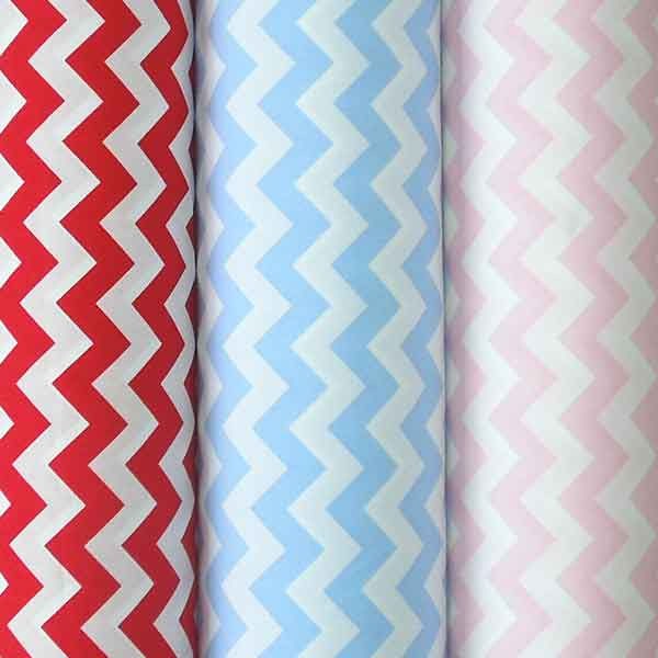 Red Chevron Cotton Fabric by Rose & Hubble, Red and White Zig Zag Cotton Poplin Fabric - Fabric and Ribbon