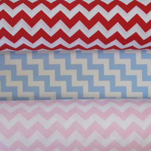 Blue Chevron Cotton Fabric by Rose & Hubble, Pale Blue and White Zig Zag Cotton Poplin Fabric