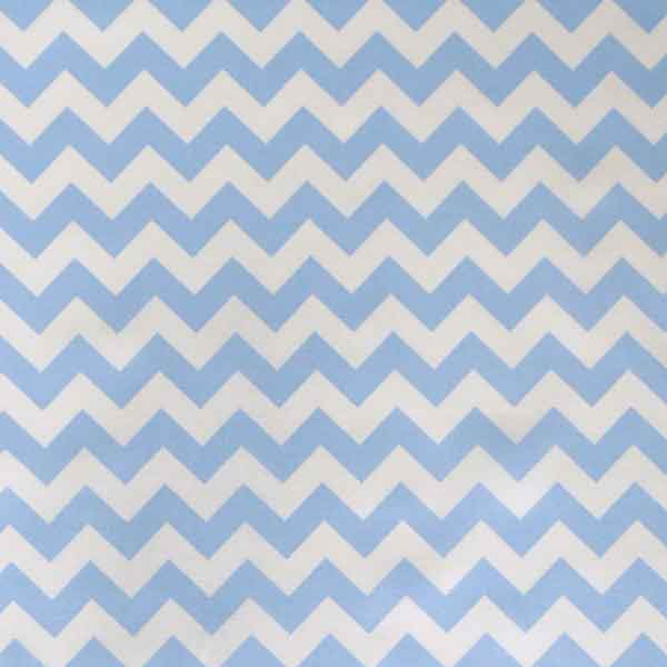 Blue Chevron Cotton Fabric by Rose & Hubble, Pale Blue and White Zig Zag Cotton Poplin Fabric - Fabric and Ribbon