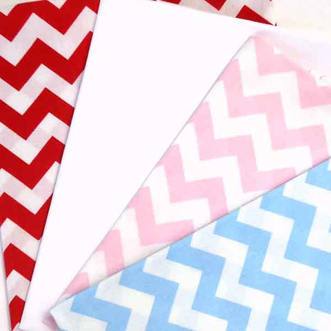 Coloured Chevron Fat Quarter Bundle by Rose & Hubble, 4 Red, Blue and Pink Chevron Fat Quarters
