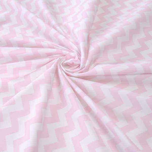 Pink Chevron Cotton Fabric by Rose & Hubble, Pink and White Zig Zag Cotton Poplin Fabric