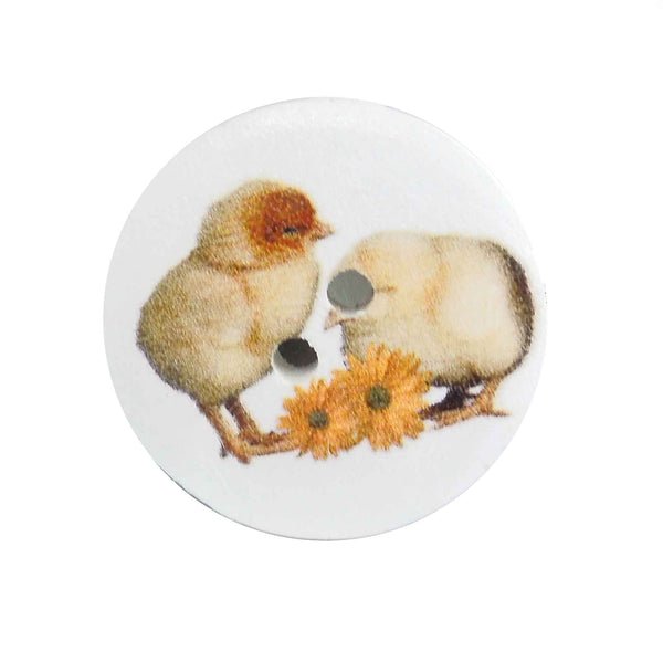 Little Chicks Wooden Craft Buttons, 18 mm, 25 mm, Pack of 15 Buttons