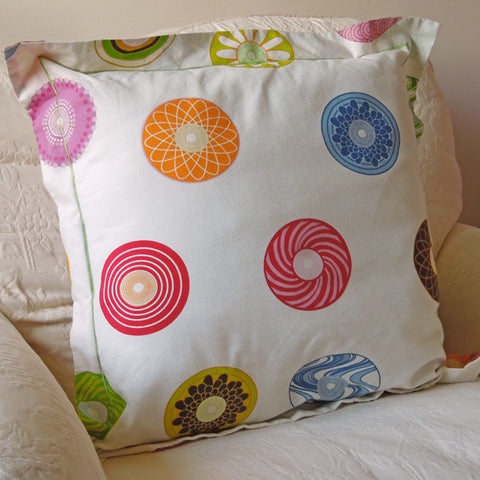 Bright Circles Cushion, Handmade in a Multicoloured Cotton Circle Print with Satin Stitch embroidery, 21 inch x 21 inch, 53 cm x 53 cm