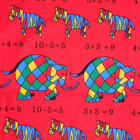 Baby Red Elephant and Zebra Cotton Fabric, Kid's Red Circus Elephant Maths Fabric