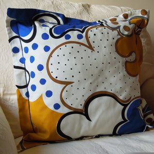 Coloured Swirls and Spots Cushion, Handmade in a Cotton Blue and Gold Print with Satin Stitch embroidery, 21 inch x 21 inch, 53 cm x 53 cm