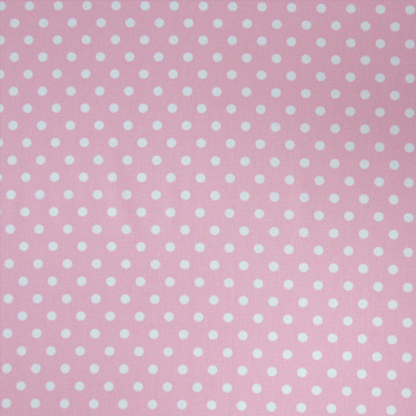 Pink Polka Dot Cotton Fabric, White on Pale Pink Polka Dot Fabric, Cotton Dot Fabric