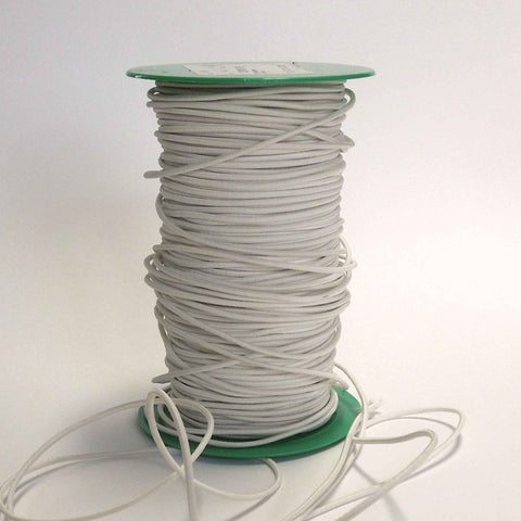 2 mm White Elastic Cord for Face Masks, Sewing and Crafts, Thin White Round Elastic