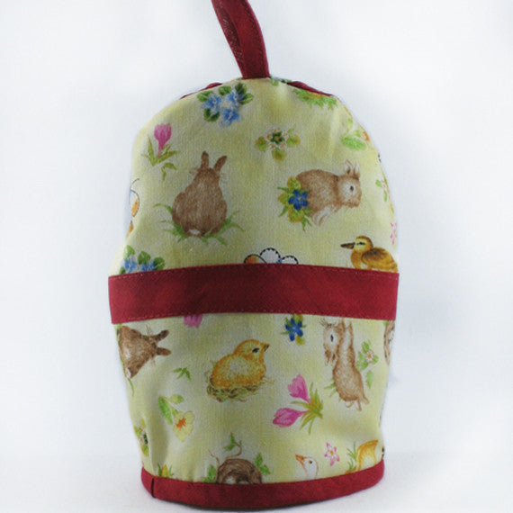 Yellow Easter Puppy Egg Cosy, Kid's Easter Puggy Egg Cozy. Embroidered Easter Dog Egg Cosy, Handmade in Pure Cotton