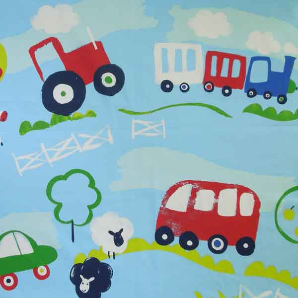 Countryside Cotton Furnishing Fabric by Prestigious Textiles, Child's Blue Chambray Car and Tractor Furnishing Fabric
