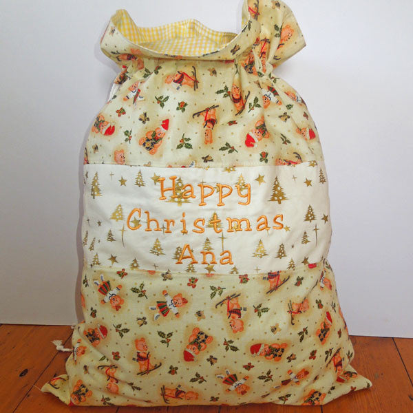 Christmas Toy Sack, Personalised or Non Personalised Xmas Cream Teddies Toy Sack, Kid's Xmas Cream Cotton Storage Bag