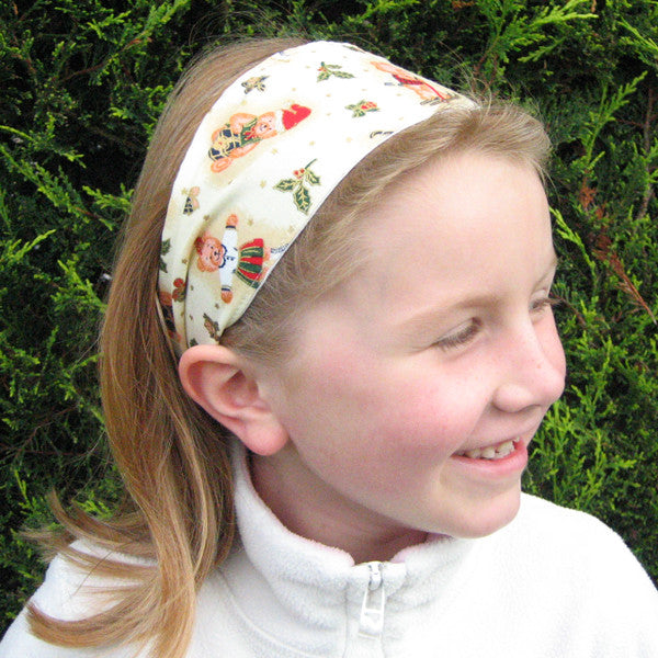 Christmas Cream Teddies Headband and Scrunchie, Girl's Xmas Cream Teddies Hair Gift Set - Fabric and Ribbon