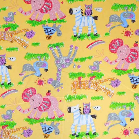 Baby Yellow and Pink Elephant Cotton Fabric by Rose & Hubble, Kid's Yellow Jungle Animal Fabric