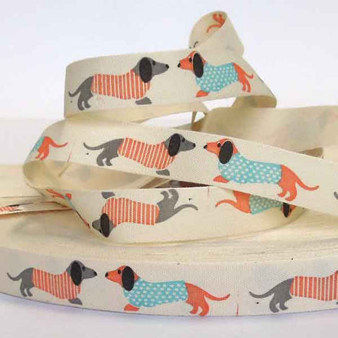15 mm Sausage Dog Ribbon, 5/8 inch Coloured Dachshunds in Jumpers Cotton Tape