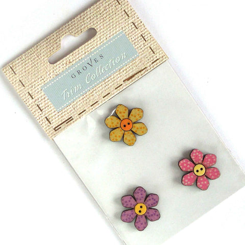 25 mm Daisy Buttons,  Wooden Flower Buttons, Pack of 3 Craft Buttons