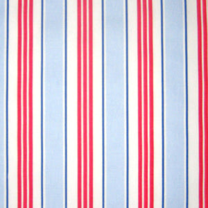 Deckchair Stripe Blue and Red Furnishing Fabric by Clarke and Clarke, Vintage Classics Collection