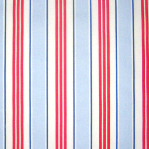 Deckchair Stripe Blue and Red Furnishing Fabric by Clarke and Clarke, part of the Vintage Classics Collection