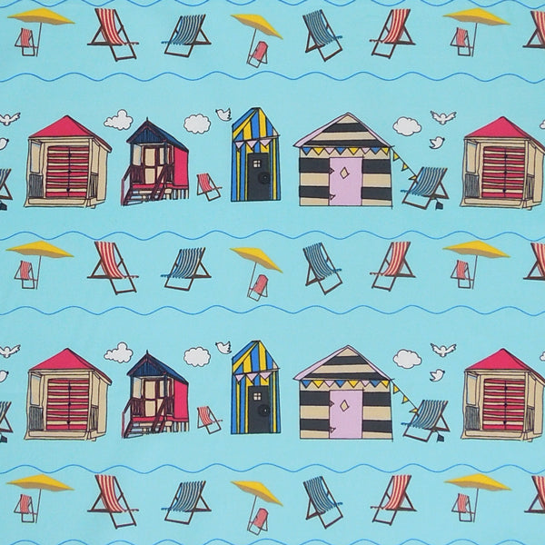 Beach Huts on Blue Cotton Fabric, Blue Seaside Cotton Poplin Fabric with Beach Huts and Deck Chairs - Fabric and Ribbon