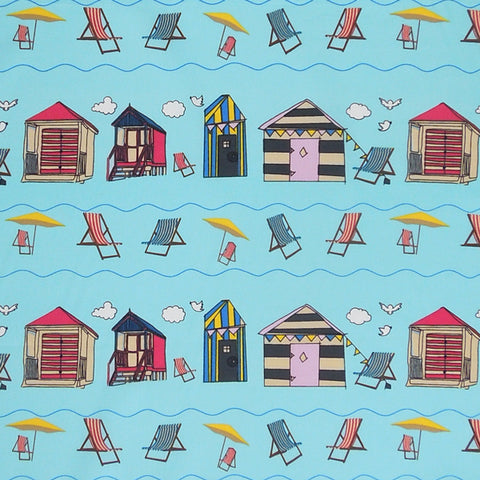 Beach Huts on Blue Cotton Fabric, Blue Seaside Cotton Poplin Fabric with Beach Huts and Deck Chairs