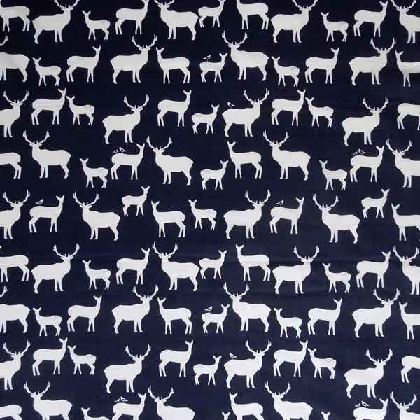 Dark Blue Organic Cotton Reindeer Fabric, White Reindeer on Blue Fabric
