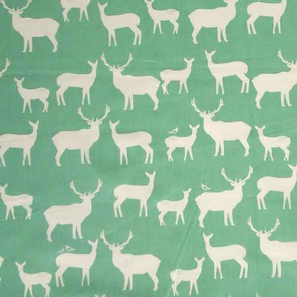 Green Organic Cotton Reindeer Fabric, White Reindeer on Teal Green Fabric