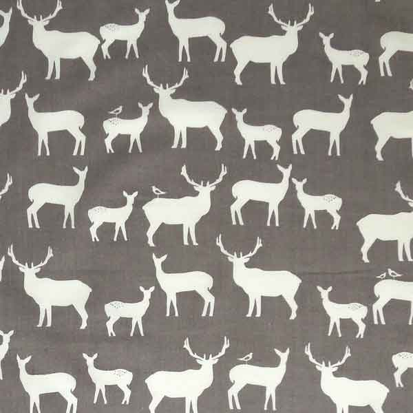 Grey Reindeer Organic Cotton Fabric, White Reindeer on Grey Fabric
