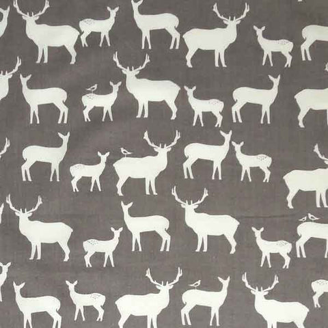 Grey Reindeer Organic Cotton Fabric, White Reindeer on Grey Fabric - Fabric and Ribbon