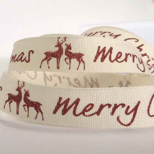 15 mm Red Merry Christmas and Reindeer Cotton Ribbon, 5/8 inch Merry Xmas Maroon Reindeer on White Cotton Tape