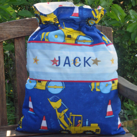 Blue Personalised Toy Sack, Child's Personalised Blue Diggers and Trucks Toy Storage Bag