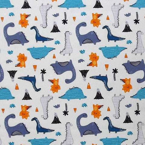 Dinosaurs on White Cotton Fabric by Rose & Hubble, Kid's Blue and Orange Dinosaur Cotton Poplin Fabric - Fabric and Ribbon
