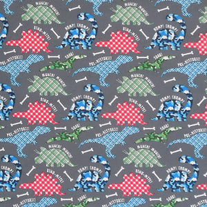 Kid's Fun Dinosaur Fabric, Coloured Dinosaur Cotton Fabric, Children's Blue and Green Dino Fabric - Fabric and Ribbon