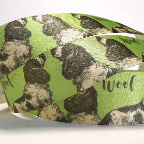 25 mm Green Dog Fabric Ribbon, 1 inch Spaniels on Apple Green satin ribbon by Berisfords - Fabric and Ribbon