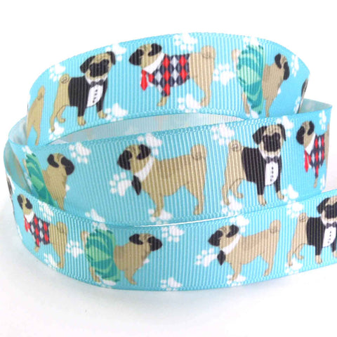 Dogs on Blue Grosgrain Tape