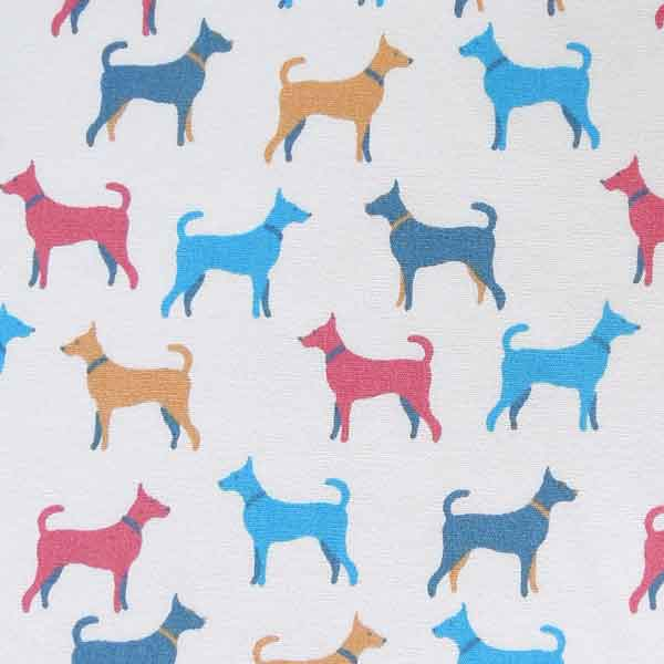 Coloured Dog Cotton Fabric by Rose & Hubble, Blue, Red and Gold Dogs on Cream Cotton Poplin Fabric