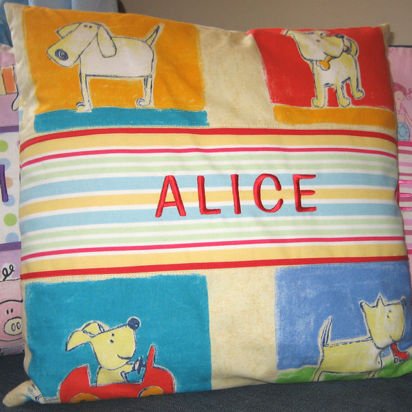 Kid's Yellow Dogs Personalised Cushion, Child's Cushion Handmade in a Yellow Puppy Cotton, 21 inch x 21 inch, 53 cm x 53 cm