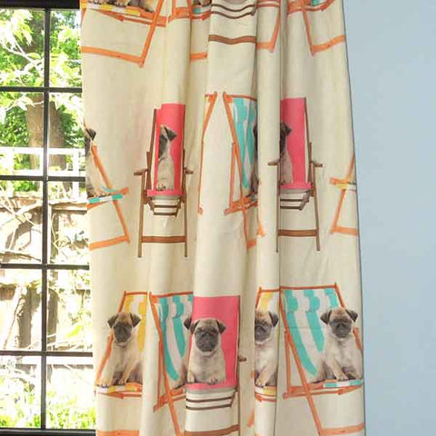 Pugs on Deckchairs Cotton Furnishing Fabric by Ashley Wilde, Digital Print Coloured Pug Dog Furnishing Fabric