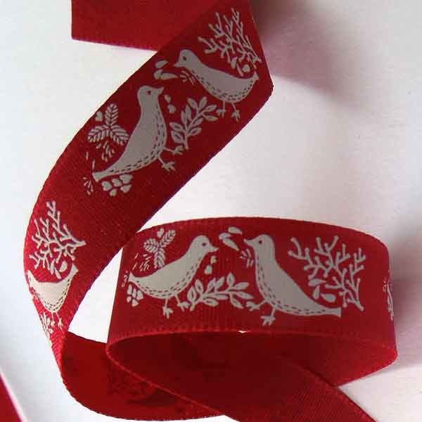 15 mm Red Turtle Dove Red Ribbon, 5/8 inch Red Ribbon with Cream Turtle Doves - Fabric and Ribbon