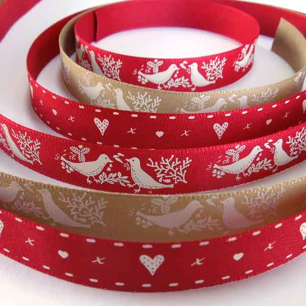 Oatmeal and Red Turtle Dove Ribbons