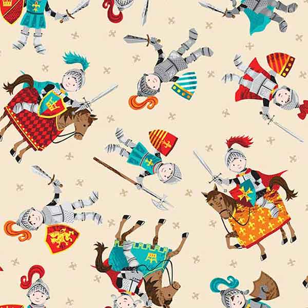 Cream Knights Cotton Fabric by Makower from their Dragonheart Collection, Kid's Knights on Horseback Cotton Fabric