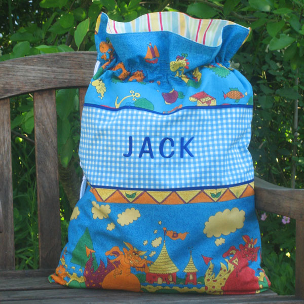 Child's Blue Dragons Personalised Toy Sack, Reversible Kid's Blue Drawstring Storage Bag