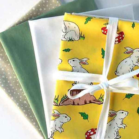 Yellow Rabbit Fat Quarter Bundle, Kid's Cotton Fat Quarter Pack, 4 Rabbit, Plain and Star Fat Quarters
