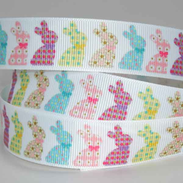 22 mm Pastel Easter Bunnies Grosgrain, 7/8 inch Kid's Easter Rabbits on White Ribbon