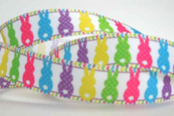 22 mm Bright Easter Bunnies Grosgrain Ribbon, 7/8 inch Child's Fun Easter Bunnies on White Grosgrain Tape - Fabric and Ribbon