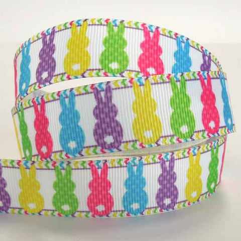 Easter Ribbon, 22 mm Easter Rabbit Grosgrain Ribbon, 7/8 inch Child's Coloured Easter Rabbits on White Grosgrain Tape