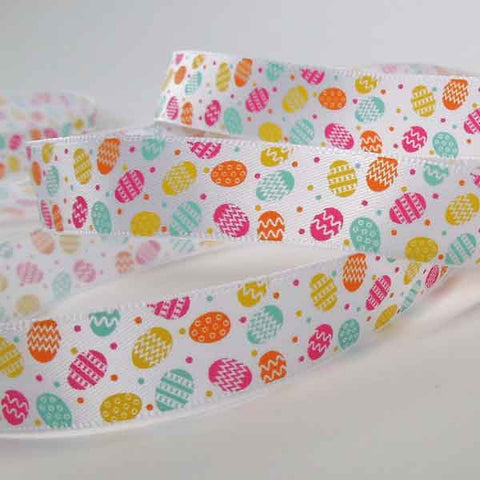 15 mm Easter Egg Ribbon, 5/8 inch Coloured Little Easter Eggs on White Satin Ribbon